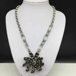 Jessica Simpson Silver Flower Pendant Necklace